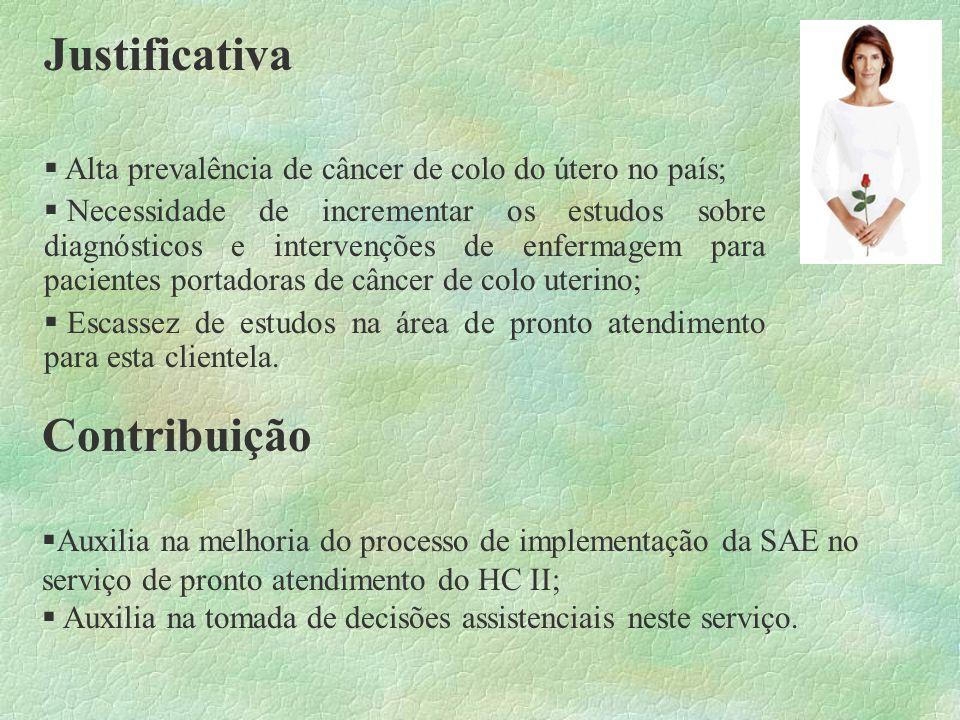 Metodologia Natureza do estudo Estudo descritivo, numa abordagem qualitativa, sobre as intervenções de enfermagem estabelecidas para o diagnóstico de enfermagem mais frequente em pacientes portadoras de câncer do colo uterino, admitidas em uma unidade de pronto atendimento de um hospital oncológico, no estado do Rio de Janeiro.