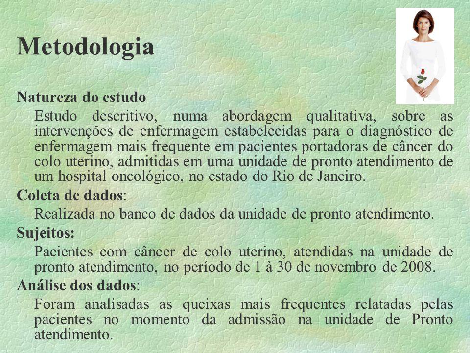 Metodologia Natureza do estudo Estudo descritivo, numa abordagem qualitativa, sobre as intervenções de enfermagem estabelecidas para o diagnóstico de
