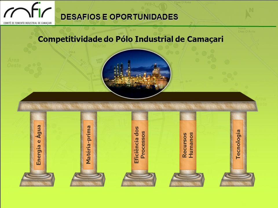 DESAFIOS E OPORTUNIDADES Competitividade do Pólo Industrial de Camaçari Energia e Água Matéria-prima Recursos Humanos Eficiência dos Processos Tecnolo