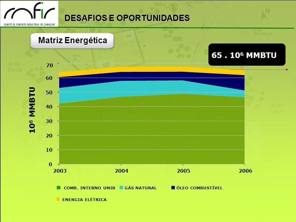 DESAFIOS E OPORTUNIDADES 0 10 20 30 40 50 60 70 2003200420052006 10 6 MMBTU COMB. INTERNO UNIBGÁS NATURALÓLEO COMBUSTÍVEL ENERGIA ELÉTRICA 65. 10 6 MM