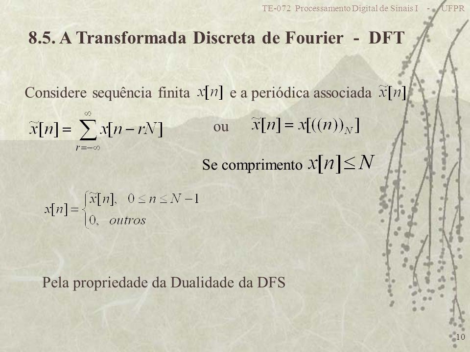 TE-072 Processamento Digital de Sinais I - UFPR 10 8.5. A Transformada Discreta de Fourier - DFT ou Pela propriedade da Dualidade da DFS Considere seq
