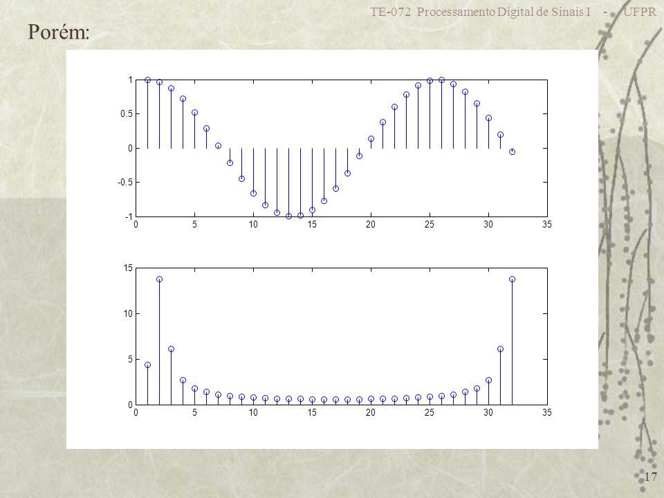 TE-072 Processamento Digital de Sinais I - UFPR 17 05101520253035 -0.5 0 0.5 1 05101520253035 0 5 10 15 Porém: