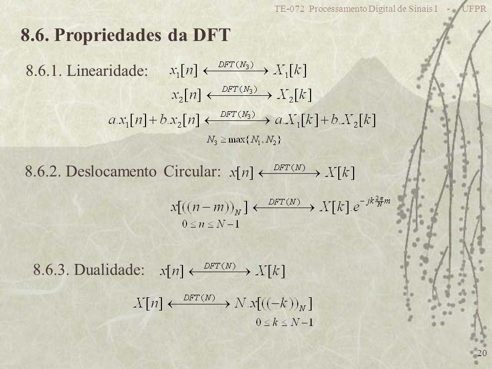TE-072 Processamento Digital de Sinais I - UFPR 20 8.6. Propriedades da DFT 8.6.1. Linearidade: 8.6.2. Deslocamento Circular: 8.6.3. Dualidade: