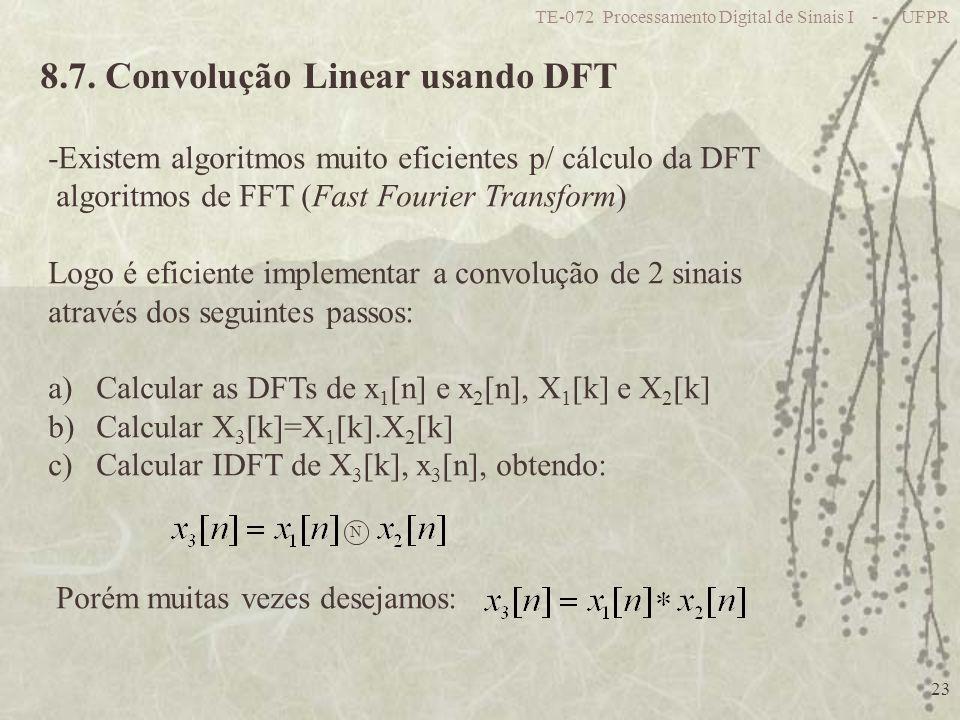 TE-072 Processamento Digital de Sinais I - UFPR 23 8.7. Convolução Linear usando DFT -Existem algoritmos muito eficientes p/ cálculo da DFT algoritmos