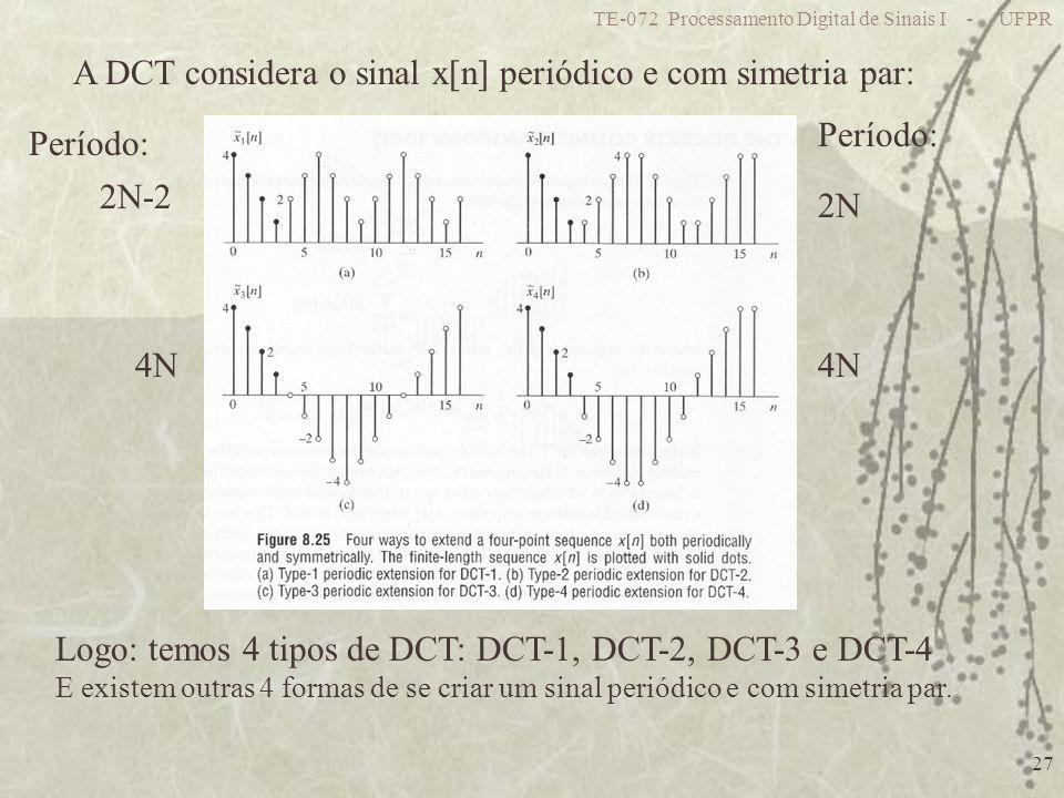 TE-072 Processamento Digital de Sinais I - UFPR 27 A DCT considera o sinal x[n] periódico e com simetria par: Logo: temos 4 tipos de DCT: DCT-1, DCT-2