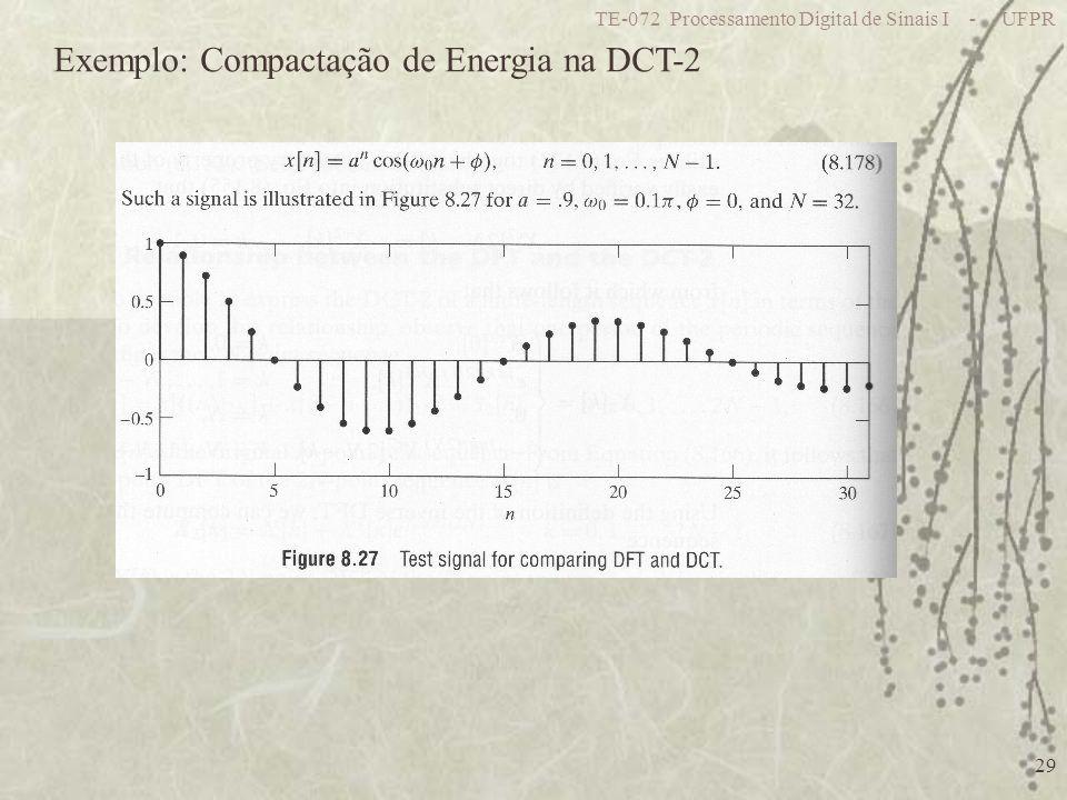 TE-072 Processamento Digital de Sinais I - UFPR 29 Exemplo: Compactação de Energia na DCT-2