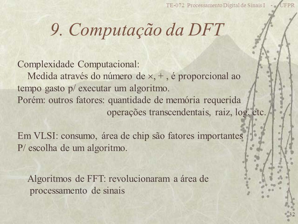 TE-072 Processamento Digital de Sinais I - UFPR 32 9. Computação da DFT Complexidade Computacional: Medida através do número de, +, é proporcional ao