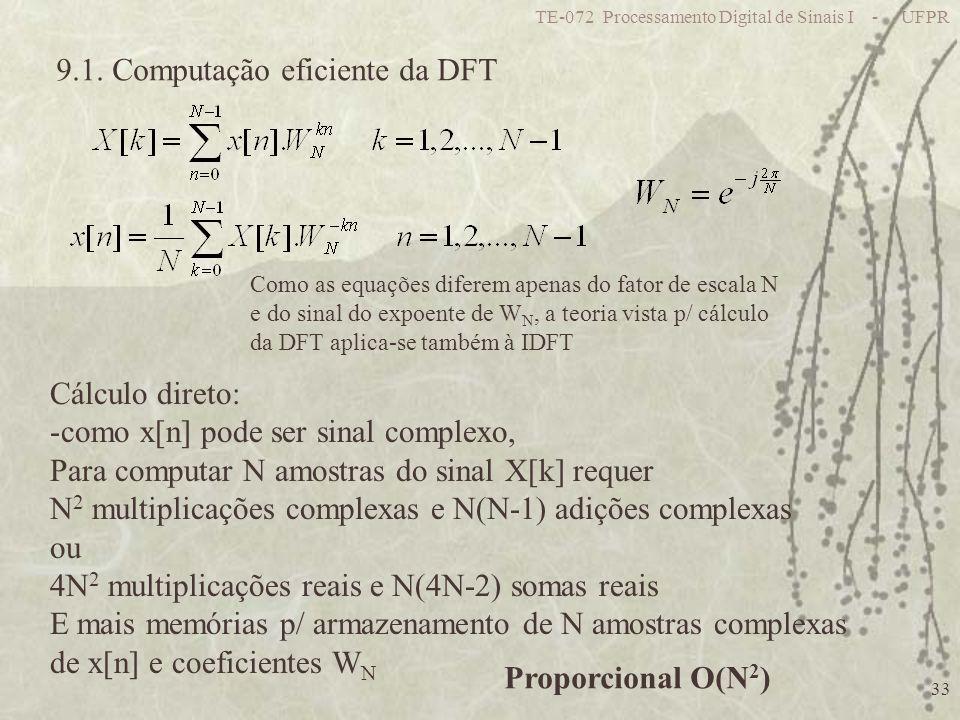 TE-072 Processamento Digital de Sinais I - UFPR 33 9.1. Computação eficiente da DFT Como as equações diferem apenas do fator de escala N e do sinal do