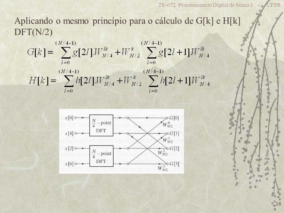 TE-072 Processamento Digital de Sinais I - UFPR 38 Aplicando o mesmo princípio para o cálculo de G[k] e H[k] DFT(N/2)
