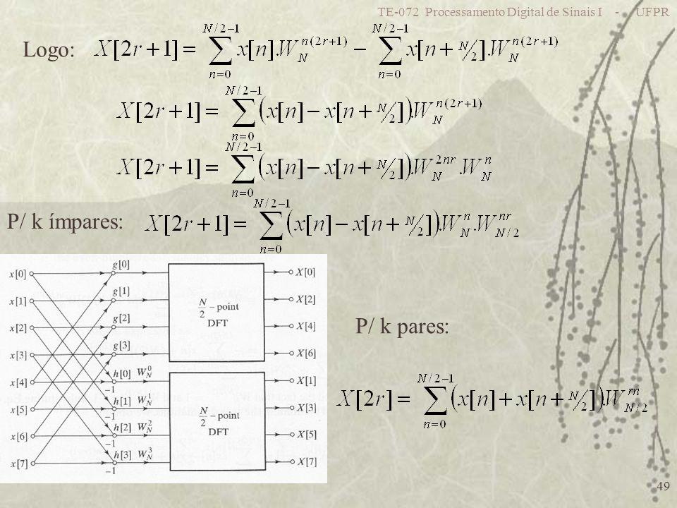 TE-072 Processamento Digital de Sinais I - UFPR 49 Logo: P/ k pares: P/ k ímpares: