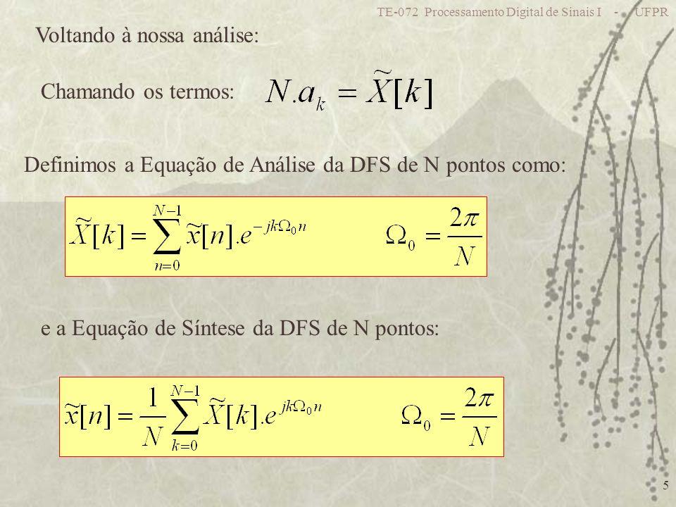 TE-072 Processamento Digital de Sinais I - UFPR 5 Voltando à nossa análise: Chamando os termos: Definimos a Equação de Análise da DFS de N pontos como: e a Equação de Síntese da DFS de N pontos: