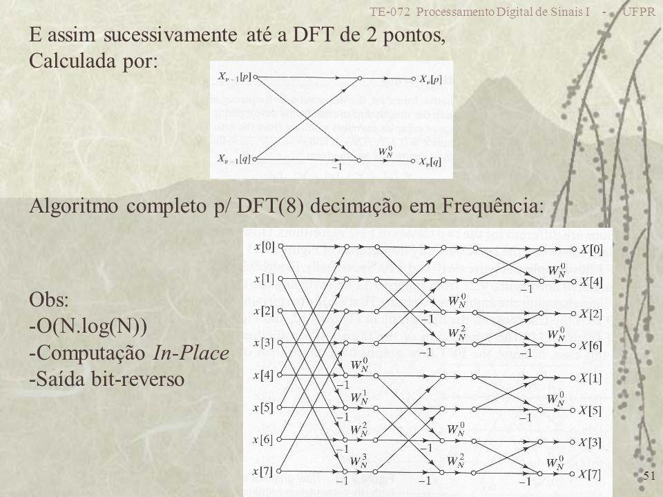 TE-072 Processamento Digital de Sinais I - UFPR 51 E assim sucessivamente até a DFT de 2 pontos, Calculada por: Algoritmo completo p/ DFT(8) decimação em Frequência: Obs: -O(N.log(N)) -Computação In-Place -Saída bit-reverso