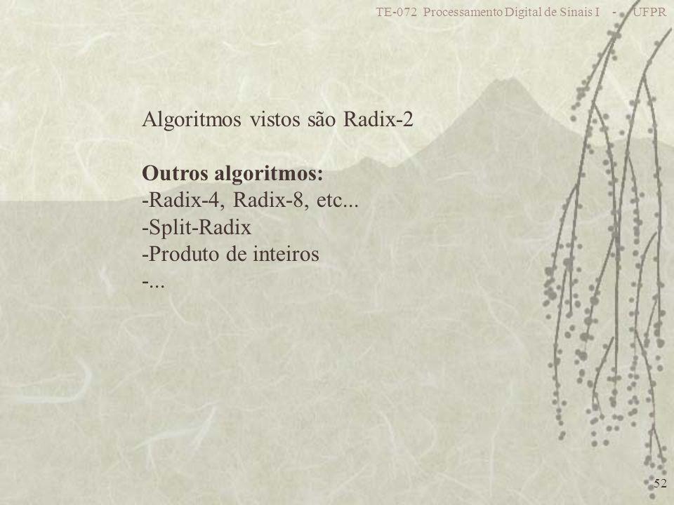 TE-072 Processamento Digital de Sinais I - UFPR 52 Algoritmos vistos são Radix-2 Outros algoritmos: -Radix-4, Radix-8, etc... -Split-Radix -Produto de