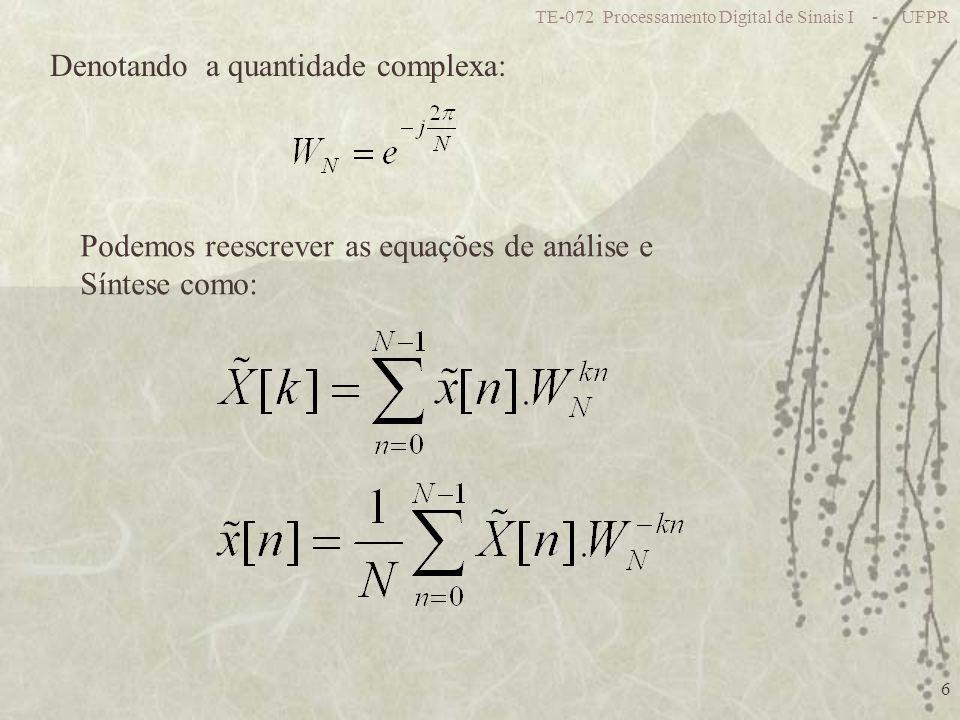 TE-072 Processamento Digital de Sinais I - UFPR 6 Denotando a quantidade complexa: Podemos reescrever as equações de análise e Síntese como: