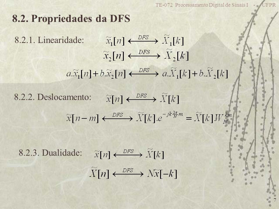TE-072 Processamento Digital de Sinais I - UFPR 7 8.2. Propriedades da DFS 8.2.1. Linearidade: 8.2.2. Deslocamento: 8.2.3. Dualidade: