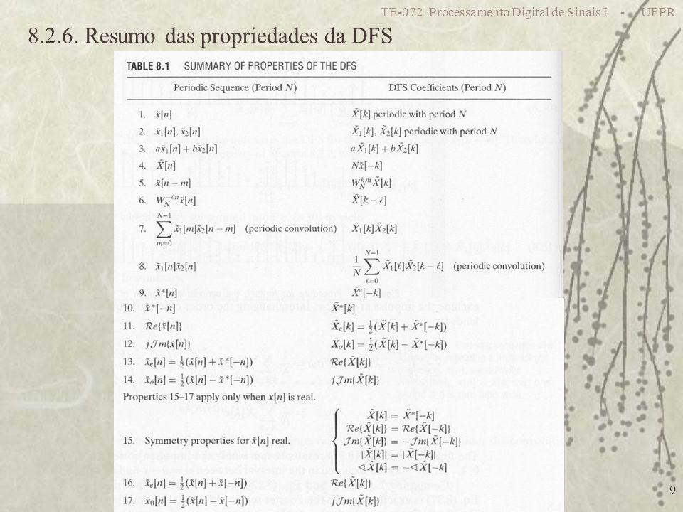 TE-072 Processamento Digital de Sinais I - UFPR 9 8.2.6. Resumo das propriedades da DFS