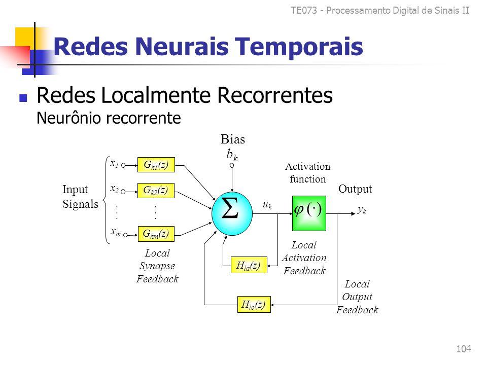 TE073 - Processamento Digital de Sinais II 104 Redes Neurais Temporais Redes Localmente Recorrentes Neurônio recorrente G k1 (z) (·) x1x1 x2x2 xmxm bkbk............