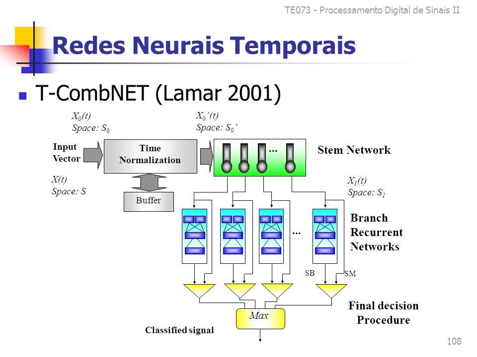 TE073 - Processamento Digital de Sinais II 108 Redes Neurais Temporais T-CombNET (Lamar 2001) X 0 (t) Space: S 0 X 1 (t) Space: S 1 X 0 (t) Space: S 0 X(t) Space: S Input Vector Time Normalization Buffer SM SB...