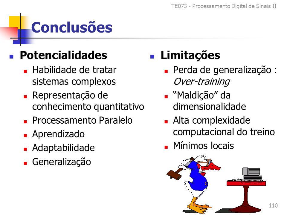 TE073 - Processamento Digital de Sinais II 110 Conclusões Potencialidades Habilidade de tratar sistemas complexos Representação de conhecimento quantitativo Processamento Paralelo Aprendizado Adaptabilidade Generalização Limitações Perda de generalização : Over-training Maldição da dimensionalidade Alta complexidade computacional do treino Mínimos locais