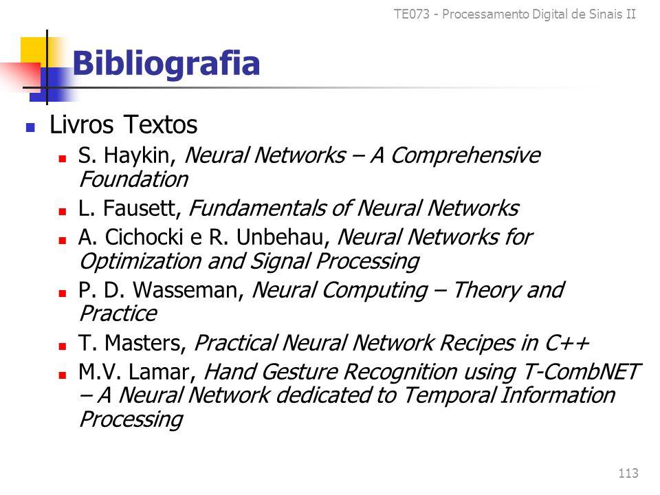 TE073 - Processamento Digital de Sinais II 113 Bibliografia Livros Textos S.