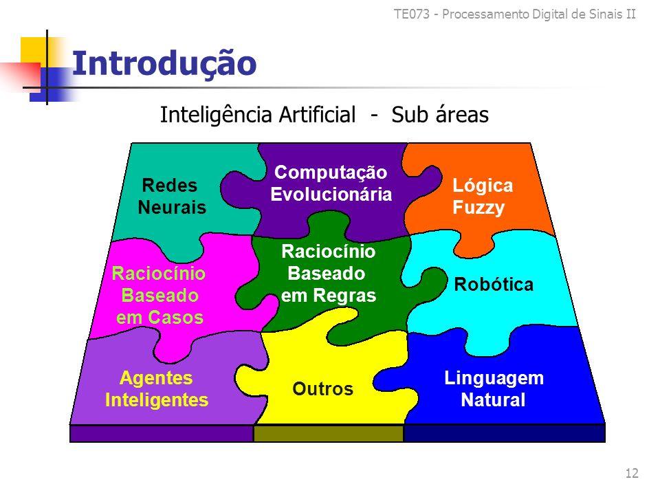TE073 - Processamento Digital de Sinais II 12 Introdução Redes Neurais Lógica Fuzzy Computação Evolucionária Agentes Inteligentes Linguagem Natural Robótica Raciocínio Baseado em Casos Raciocínio Baseado em Regras Outros Inteligência Artificial - Sub áreas