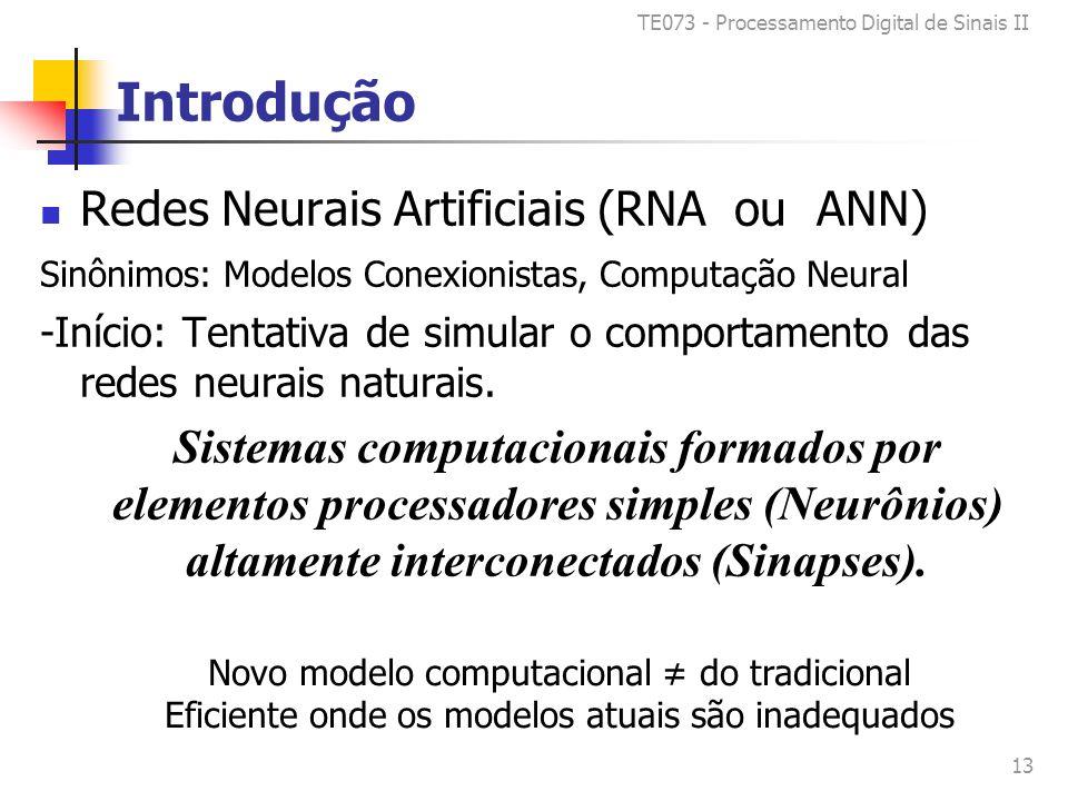 TE073 - Processamento Digital de Sinais II 13 Introdução Redes Neurais Artificiais (RNA ou ANN) Sinônimos: Modelos Conexionistas, Computação Neural -Início: Tentativa de simular o comportamento das redes neurais naturais.