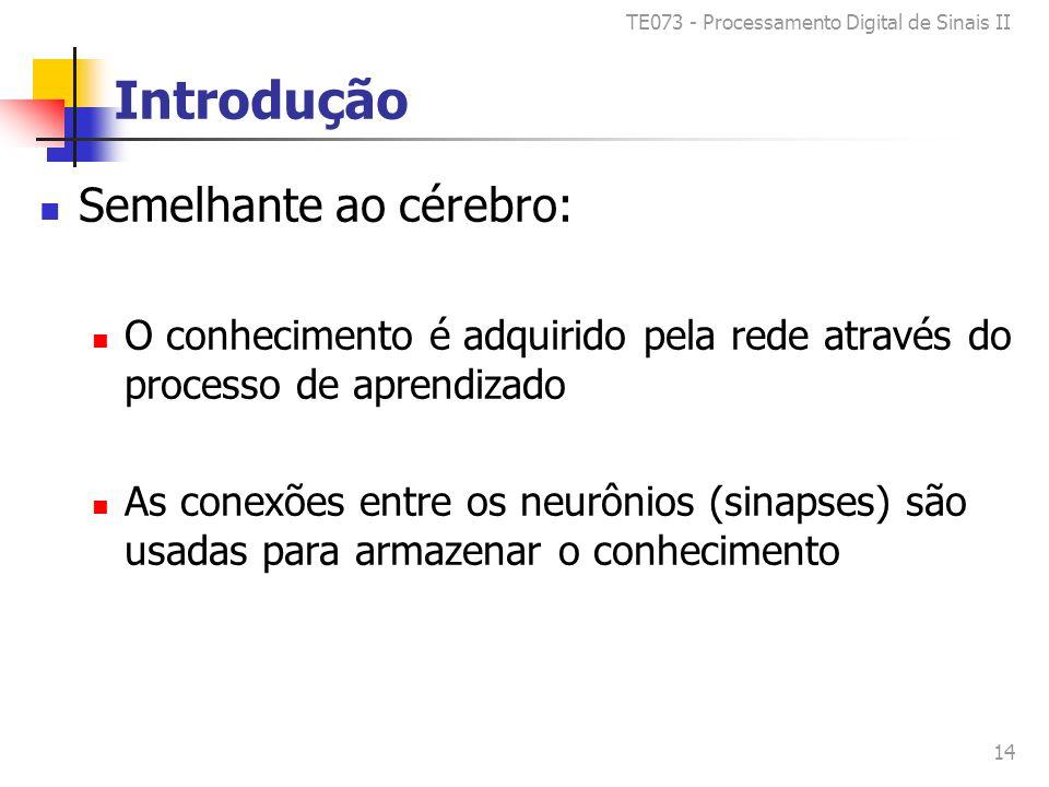 TE073 - Processamento Digital de Sinais II 14 Introdução Semelhante ao cérebro: O conhecimento é adquirido pela rede através do processo de aprendizado As conexões entre os neurônios (sinapses) são usadas para armazenar o conhecimento