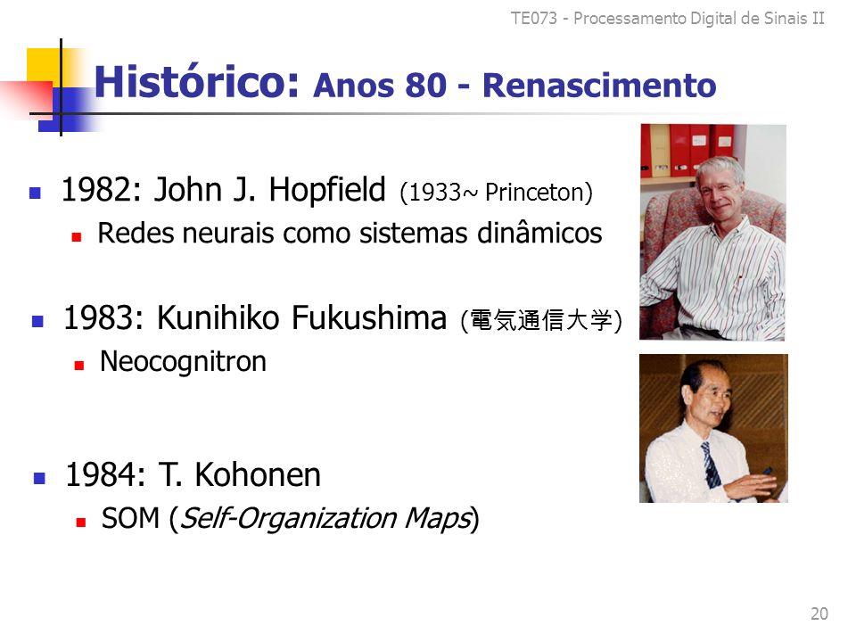 TE073 - Processamento Digital de Sinais II 20 Histórico: Anos 80 - Renascimento 1982: John J.