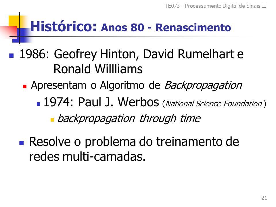 TE073 - Processamento Digital de Sinais II 21 Histórico: Anos 80 - Renascimento 1986: Geofrey Hinton, David Rumelhart e Ronald Willliams Apresentam o Algoritmo de Backpropagation 1974: Paul J.