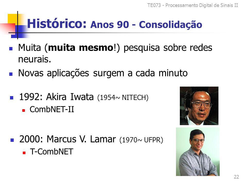 TE073 - Processamento Digital de Sinais II 22 Histórico: Anos 90 - Consolidação Muita (muita mesmo!) pesquisa sobre redes neurais.