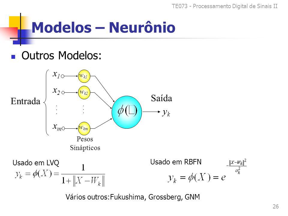 TE073 - Processamento Digital de Sinais II 26 Modelos – Neurônio Outros Modelos: x1x1 x2x2 xmxm......