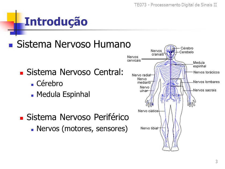 TE073 - Processamento Digital de Sinais II 3 Introdução Sistema Nervoso Humano Sistema Nervoso Central: Cérebro Medula Espinhal Sistema Nervoso Periférico Nervos (motores, sensores)