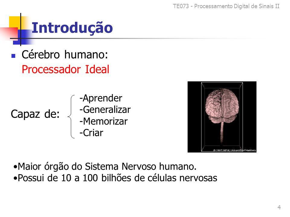 TE073 - Processamento Digital de Sinais II 4 Introdução Cérebro humano: Processador Ideal Capaz de: -Aprender -Generalizar -Memorizar -Criar Maior órgão do Sistema Nervoso humano.