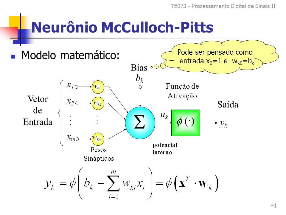 TE073 - Processamento Digital de Sinais II 41 Neurônio McCulloch-Pitts Modelo matemático: bkbk Bias Pode ser pensado como entrada x 0 =1 e w k0 =b k (·) x1x1 x2x2 xmxm......