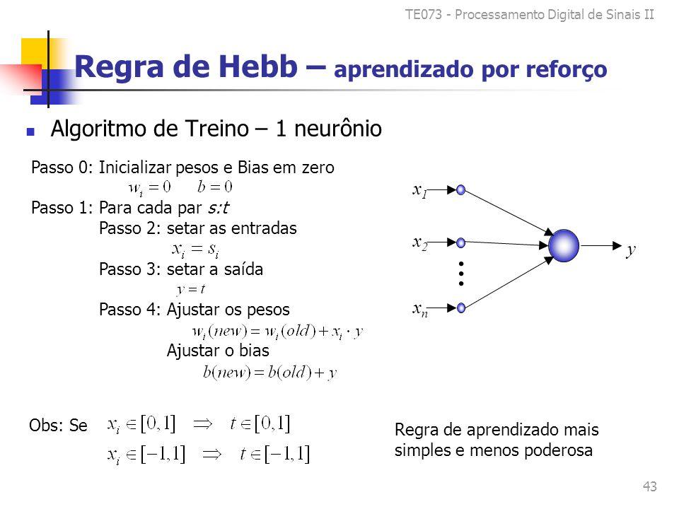 TE073 - Processamento Digital de Sinais II 43 Passo 0: Inicializar pesos e Bias em zero Passo 1: Para cada par s:t Passo 2: setar as entradas Passo 3: setar a saída Passo 4: Ajustar os pesos Ajustar o bias Regra de Hebb – aprendizado por reforço Algoritmo de Treino – 1 neurônio y x1x1 x2x2 xnxn......