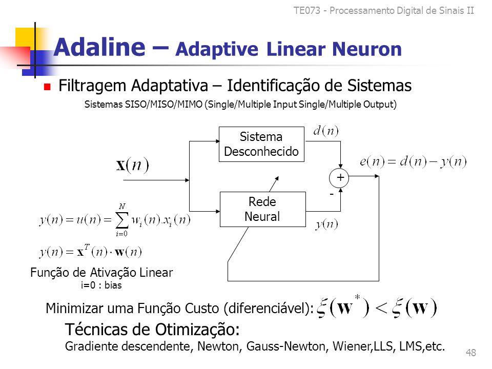 TE073 - Processamento Digital de Sinais II 48 Adaline – Adaptive Linear Neuron Filtragem Adaptativa – Identificação de Sistemas Sistema Desconhecido + Rede Neural Sistemas SISO/MISO/MIMO (Single/Multiple Input Single/Multiple Output) - Função de Ativação Linear i=0 : bias Minimizar uma Função Custo (diferenciável): Técnicas de Otimização: Gradiente descendente, Newton, Gauss-Newton, Wiener,LLS, LMS,etc.