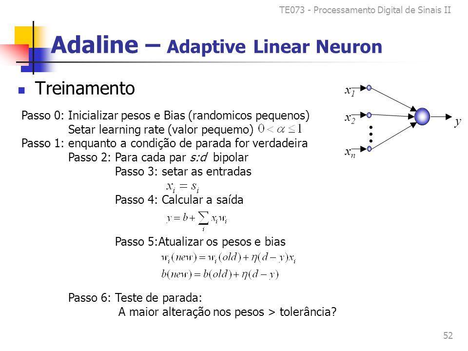 TE073 - Processamento Digital de Sinais II 52 Adaline – Adaptive Linear Neuron Treinamento Passo 0: Inicializar pesos e Bias (randomicos pequenos) Setar learning rate (valor pequemo) Passo 1: enquanto a condição de parada for verdadeira Passo 2: Para cada par s:d bipolar Passo 3: setar as entradas Passo 4: Calcular a saída Passo 5:Atualizar os pesos e bias Passo 6: Teste de parada: A maior alteração nos pesos > tolerância.