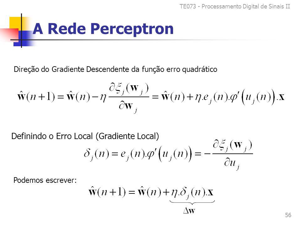 TE073 - Processamento Digital de Sinais II 56 A Rede Perceptron Direção do Gradiente Descendente da função erro quadrático Definindo o Erro Local (Gradiente Local) Podemos escrever: