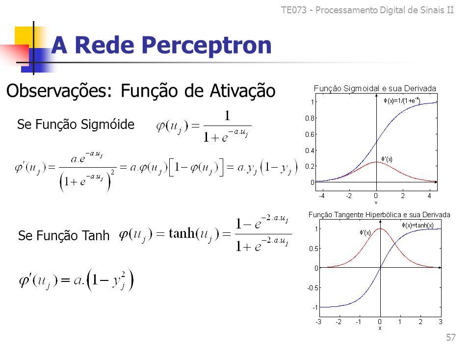 TE073 - Processamento Digital de Sinais II 57 A Rede Perceptron Observações: Função de Ativação Se Função Sigmóide Se Função Tanh