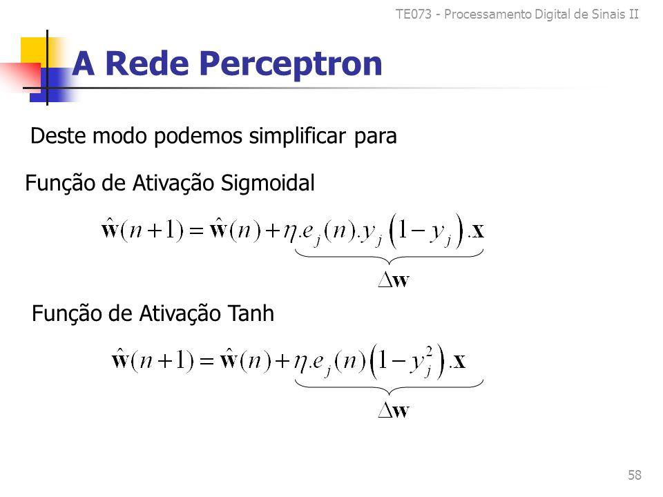 TE073 - Processamento Digital de Sinais II 58 A Rede Perceptron Deste modo podemos simplificar para Função de Ativação Sigmoidal Função de Ativação Tanh