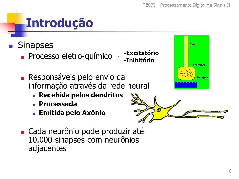 TE073 - Processamento Digital de Sinais II 6 Introdução Sinapses Processo eletro-químico Responsáveis pelo envio da informação através da rede neural Recebida pelos dendritos Processada Emitida pelo Axônio Cada neurônio pode produzir até 10.000 sinapses com neurônios adjacentes -Excitatório -Inibitório