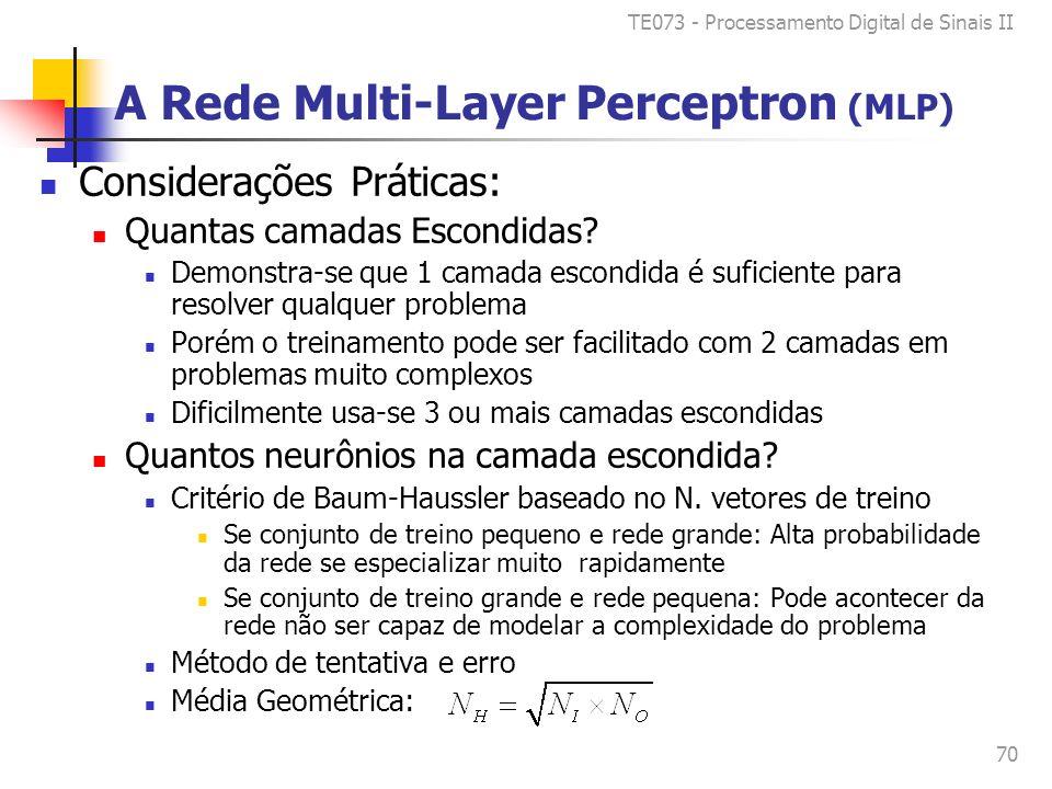 TE073 - Processamento Digital de Sinais II 70 A Rede Multi-Layer Perceptron (MLP) Considerações Práticas: Quantas camadas Escondidas.