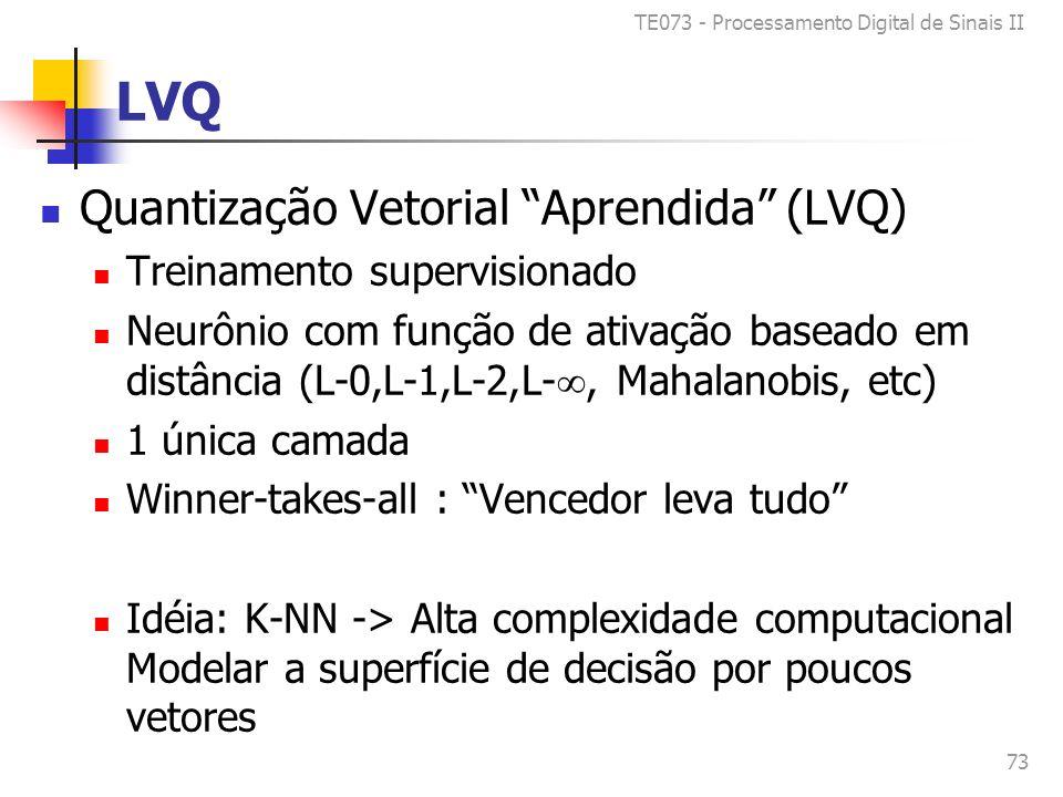 TE073 - Processamento Digital de Sinais II 73 LVQ Quantização Vetorial Aprendida (LVQ) Treinamento supervisionado Neurônio com função de ativação baseado em distância (L-0,L-1,L-2,L-, Mahalanobis, etc) 1 única camada Winner-takes-all : Vencedor leva tudo Idéia: K-NN -> Alta complexidade computacional Modelar a superfície de decisão por poucos vetores
