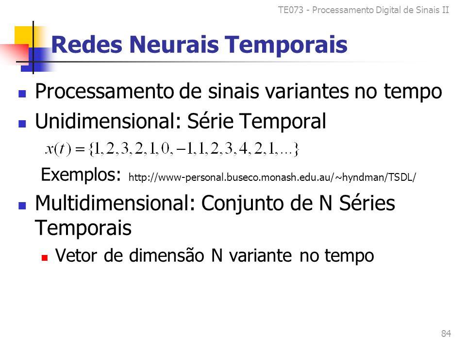 TE073 - Processamento Digital de Sinais II 84 Redes Neurais Temporais Processamento de sinais variantes no tempo Unidimensional: Série Temporal Exemplos: http://www-personal.buseco.monash.edu.au/~hyndman/TSDL/ Multidimensional: Conjunto de N Séries Temporais Vetor de dimensão N variante no tempo