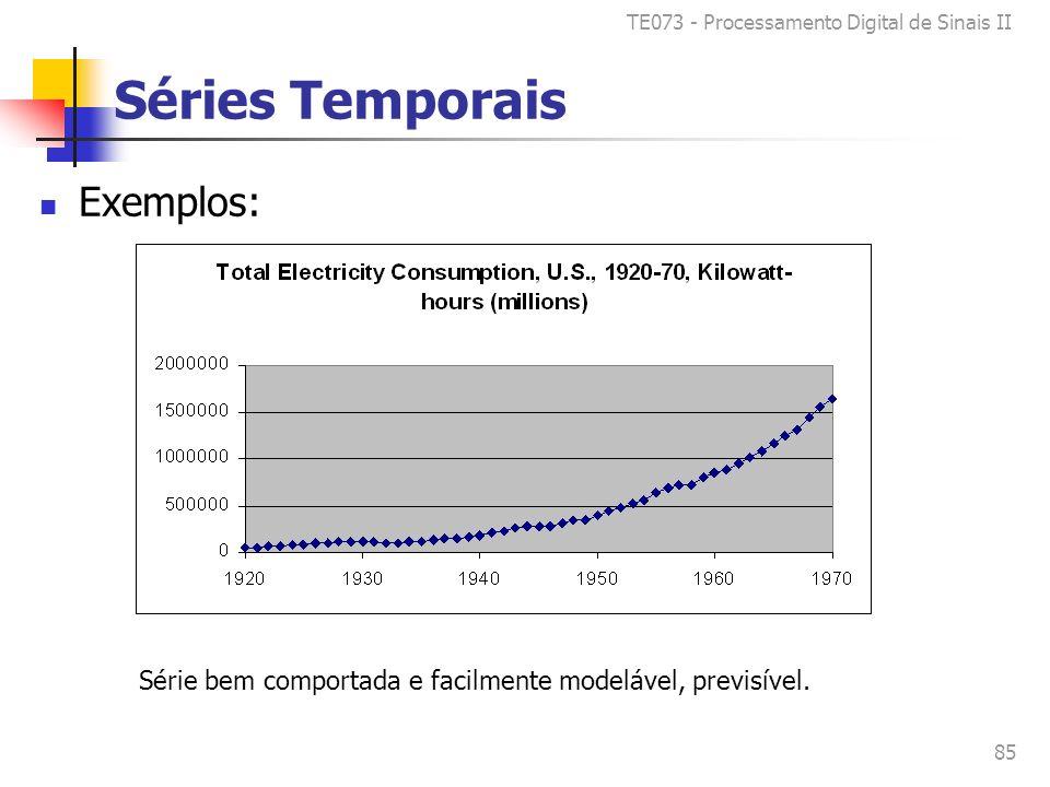 TE073 - Processamento Digital de Sinais II 85 Séries Temporais Exemplos: Série bem comportada e facilmente modelável, previsível.
