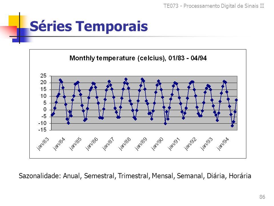 TE073 - Processamento Digital de Sinais II 86 Séries Temporais Sazonalidade: Anual, Semestral, Trimestral, Mensal, Semanal, Diária, Horária