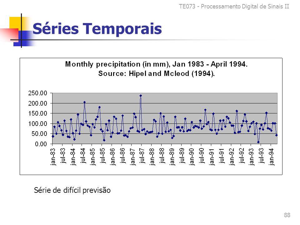 TE073 - Processamento Digital de Sinais II 88 Séries Temporais Série de difícil previsão
