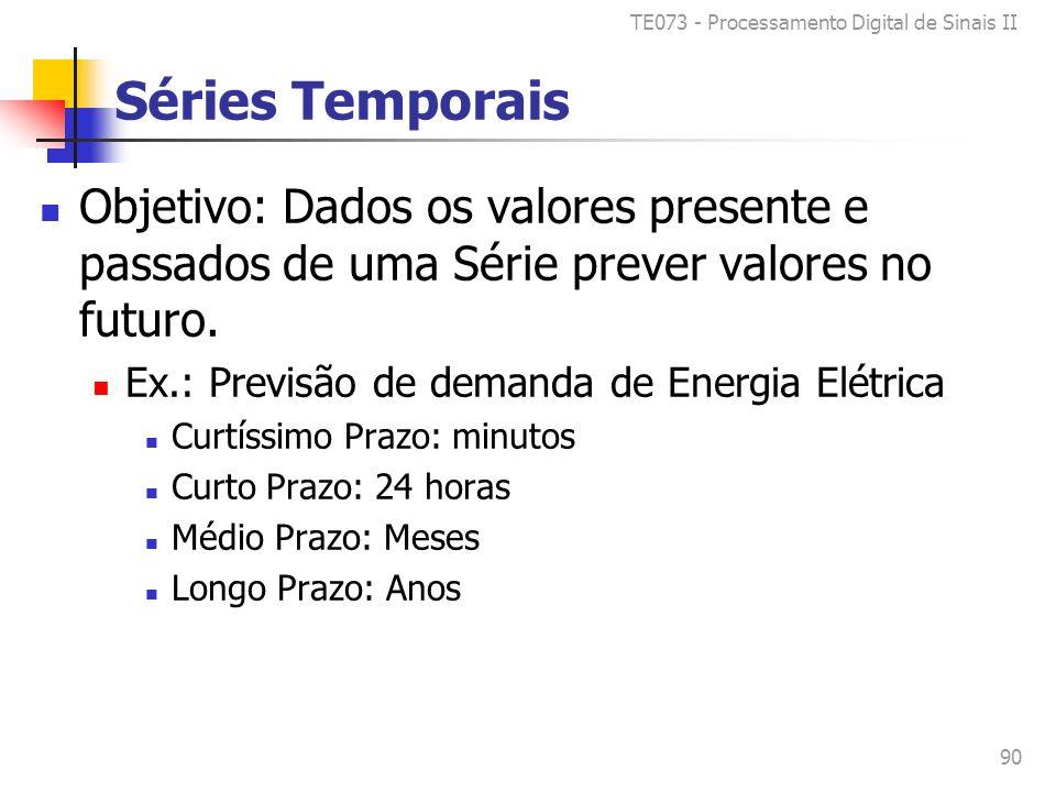 TE073 - Processamento Digital de Sinais II 90 Séries Temporais Objetivo: Dados os valores presente e passados de uma Série prever valores no futuro.