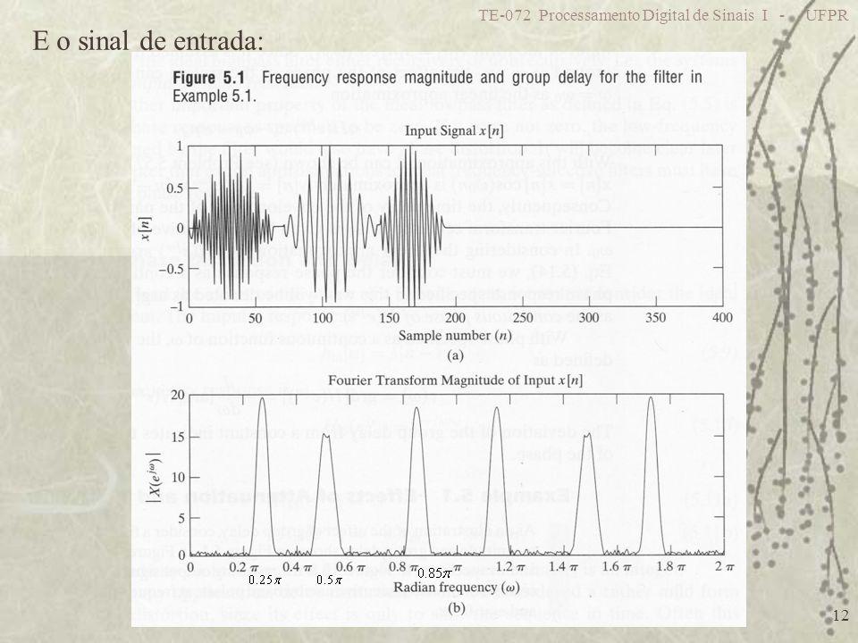 TE-072 Processamento Digital de Sinais I - UFPR 12 E o sinal de entrada:
