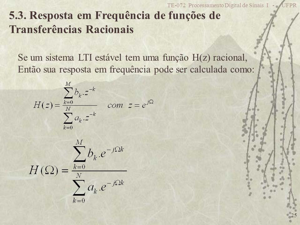 TE-072 Processamento Digital de Sinais I - UFPR 25 5.3. Resposta em Frequência de funções de Transferências Racionais Se um sistema LTI estável tem um